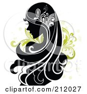 Royalty Free RF Clipart Illustration Of A Beautiful Woman With Long Black Hair Over Green Vines by OnFocusMedia