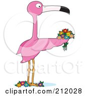 Royalty Free RF Clipart Illustration Of A Pink Flamingo Holding Flowers Forming The Letter F by Maria Bell