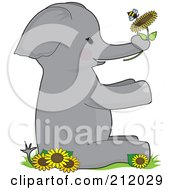 Elephant Holding A Flower With A Bee Forming The Letter E