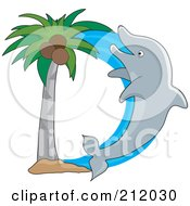 Dolphin And Palm Tree Forming The Letter D