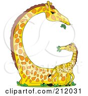 Baby And Mother Giraffe Forming The Shape Of The Letter G