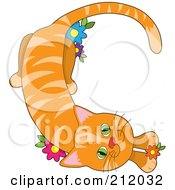 Royalty Free RF Clipart Illustration Of A Striped Orange Cat In The Shape Of The Letter C by Maria Bell