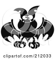 Royalty Free RF Clipart Illustration Of A Black Bat With Fangs by Zooco