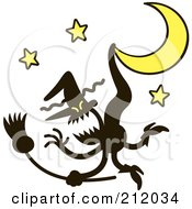 Royalty-Free (RF) Clipart Illustration of an Evil Witch Stuck On A Crescent Moon by Zooco #COLLC212034-0152