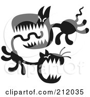 Royalty Free RF Clipart Illustration Of An Abstract Mean Dog Chasing A Cat