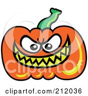 Plump Orange Pumpkin With A Mean Yellow Grin by Zooco