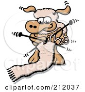 Royalty Free RF Clipart Illustration Of A Sheep Knitting A Wool Scarf
