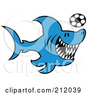 Royalty Free RF Clipart Illustration Of A Blue Shark Playing Soccer