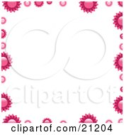 Clipart Illustration Of Pink Flowers Bordering A White Background