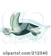 Royalty Free RF Clipart Illustration Of A Fast Swimming Sea Turtle by Zooco