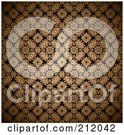 Gold Leaf Gothic Pattern On Black Background