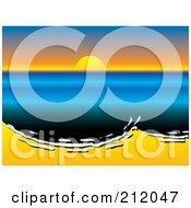 Royalty Free RF Clipart Illustration Of A Sun Setting Over Oily Surf Washing Up On A Beach