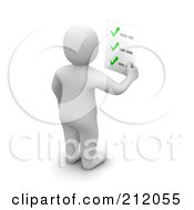 Royalty Free RF Clipart Illustration Of A 3d Blanco Man Facing Away And Holding A Check List