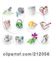 Royalty Free RF Clipart Illustration Of A Digital Collage Of Gps Audio News Alarm Clock Calendar Security Weather Checklist Gears Megaphone Solutions And Email by AtStockIllustration