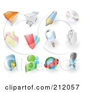 Royalty Free RF Clipart Illustration Of A Digital Collage Of Books Shopping Cart Pencil Cd Home Bar Graph Search Shopping Bag Sms Card Chat Email And Microphone Web Browser Icons