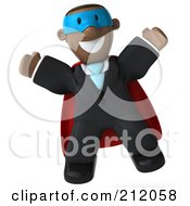 Royalty Free RF Clipart Illustration Of A 3d Black Business Man Super Hero Jumping by Julos