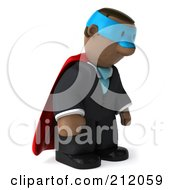Royalty Free RF Clipart Illustration Of A 3d Black Business Man Super Hero Pouting And Facing Right by Julos