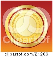 Poster, Art Print Of Shiny Golden Medallion Over A Gradient Orange Background Symbolizing Success