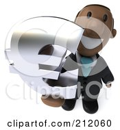 Royalty Free RF Clipart Illustration Of A 3d Black Business Man Holding Up A Chrome Euro Symbol by Julos