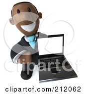 Royalty Free RF Clipart Illustration Of A 3d Black Business Man Holding Up A Laptop Computer by Julos