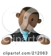 Royalty Free RF Clipart Illustration Of A 3d Black Business Man Looking Down At A Blank Sign by Julos