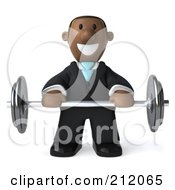 Royalty Free RF Clipart Illustration Of A 3d Black Business Man Facing Front And Lifting A Barbell by Julos