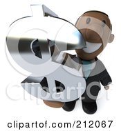 Royalty Free RF Clipart Illustration Of A 3d Black Business Man Holding Up A Chrome Dollar Symbol by Julos