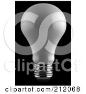 Royalty Free RF Clipart Illustration Of A 3d Reflective White Light Bulb On Black by stockillustrations