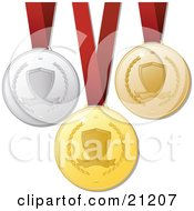 Clipart Illustration Of Gold Bronze And Silver Victory Medals For First Second And Third Place Hanging On Red Ribbons by elaineitalia