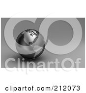 Royalty Free RF Clipart Illustration Of A 3d Black And Silver Globe Of The Americas On Gray by stockillustrations