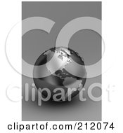 Royalty Free RF Clipart Illustration Of A 3d Black And Silver Globe Of North And South America On Gray