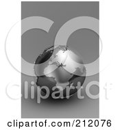 Royalty Free RF Clipart Illustration Of A 3d Black And Silver Globe Of Europe And Africa On Gray