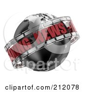 Royalty Free RF Clipart Illustration Of A 3d Black Red And Silver Breaking News Globe