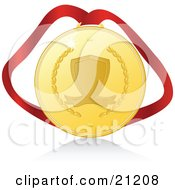 Clipart Illustration Of A First Place Gold Medal On A Red Ribbon With A Shadow Over A White Background Symbolizing Victory by elaineitalia