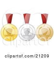 Three Achievement Medals On Red Ribbons One Gold One Silver One Bronze
