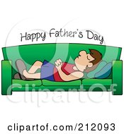 Royalty Free RF Clipart Illustration Of Happy Fathers Day Text Over A Caucasian Dad Napping On A Couch by Pams Clipart