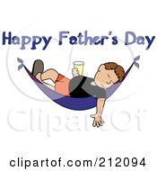 Royalty Free RF Clipart Illustration Of A Happy Fathers Day Greeting Over A Relaxed Man With A Beer Sleeping In A Hammock by Pams Clipart