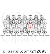 Royalty Free RF Clipart Illustration Of A Red Stick Businessman Standing Out From Rows Of Plain Men