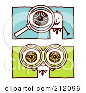 Royalty Free RF Clipart Illustration Of A Digital Collage Of Stick Business Men With Binoculars And A Magnifying Glass