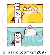 Royalty Free RF Clipart Illustration Of A Digital Collage Of Stick Chef Men With Serving Platters by NL shop
