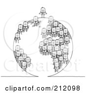 Royalty Free RF Clipart Illustration Of A Team Of Stick Businses Men On A Globe The Boss On The Top by NL shop
