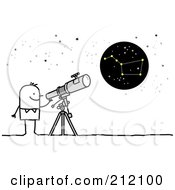 Royalty Free RF Clipart Illustration Of A Stick Man Using A Telescope To View The Big Dipper by NL shop