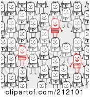 Royalty Free RF Clipart Illustration Of A Few Red Stick Men Standing Out From A Crowd by NL shop