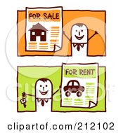 Royalty Free RF Clipart Illustration Of A Digital Collage Of Stick Business Men With For Sale And For Rent Signs by NL shop