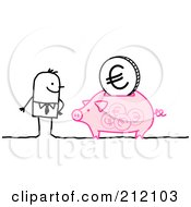 Stick Businessman With A Euro Coin In A Piggy Bank