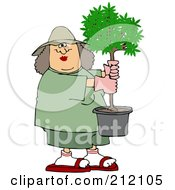 Caucasian Woman Carrying A Small Potted Tree