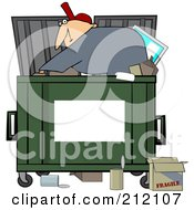 Royalty Free RF Clipart Illustration Of A Man Digging Inside A Dumpster With A Blank Sign For Text Space On The Front