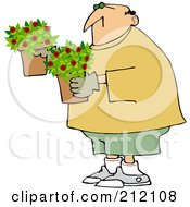 Royalty Free RF Clipart Illustration Of A Caucasian Man Carrying Miniature Rose Pots
