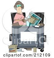 Royalty Free RF Clipart Illustration Of A Woman Standing Inside A Dumpster With A Blank Sign For Text Space On The Front by djart