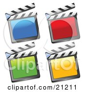 Collection Of Blue Red Green And Yellow Movie Clapperboards On A White Background
